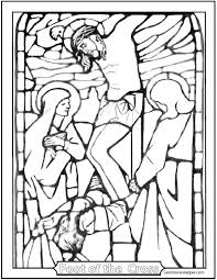 Stained Glass Crucifixion Coloring Page Mary Magdalen And John At The Foot