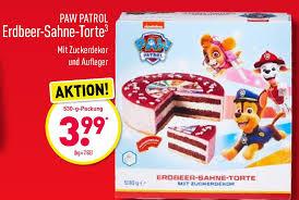 paw patrol erdbeer sahne torte 530 g angebot bei aldi nord