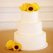 Sunflower Rustic Wedding Cake With Buttercream Ridged Design
