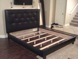 California King Bed Frame Ikea by Black Faux Leather Upholstered California King Bed Frame Decofurnish