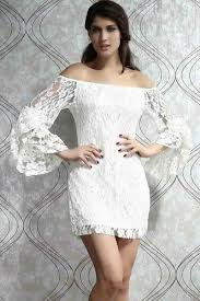 white long flare sleeve off shoulder lace dress long sleeve