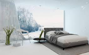 moderne kühle schlafzimmer inter mit frischen arums und einem doppelbett über einen wintergarten durch ein großes sichtfenster mit blick auf 3d