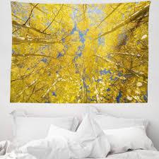 wandteppich aus weiches mikrofaser stoff für das wohn und schlafzimmer abakuhaus rechteckig gelb und blau aspen bäume kaufen otto