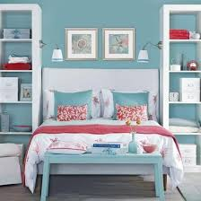 Pacific Blue And Coral Bedroom Ideal Home Housetohomejpg