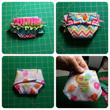 This pattern makes a cute little dolly diaper that fits most babies