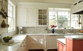 White Stone Kitchen Backsplash Grey Tile Flooring Decor Idea Travertine Top Stainless Sink Charming U