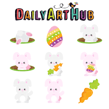 Cute Easter Bunny Clip Art Set – Daily Art Hub – Free Clip Art