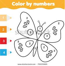 Coloring Page With Butterfly Color By Numbers Educational Children Game Drawing Kids Activity