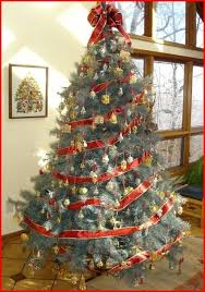 Christmas Trees Decorated With Red Ribbon Altogetherchristmas