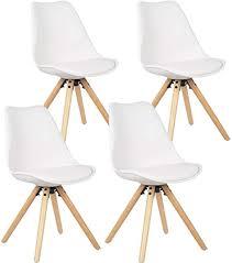 ellexir esszimmerstühle set 4 wohnzimmerstuhl holz stühle kunstleder retro design stuhl retro design gepolsterter stuhl küchenstuhl holz weiß