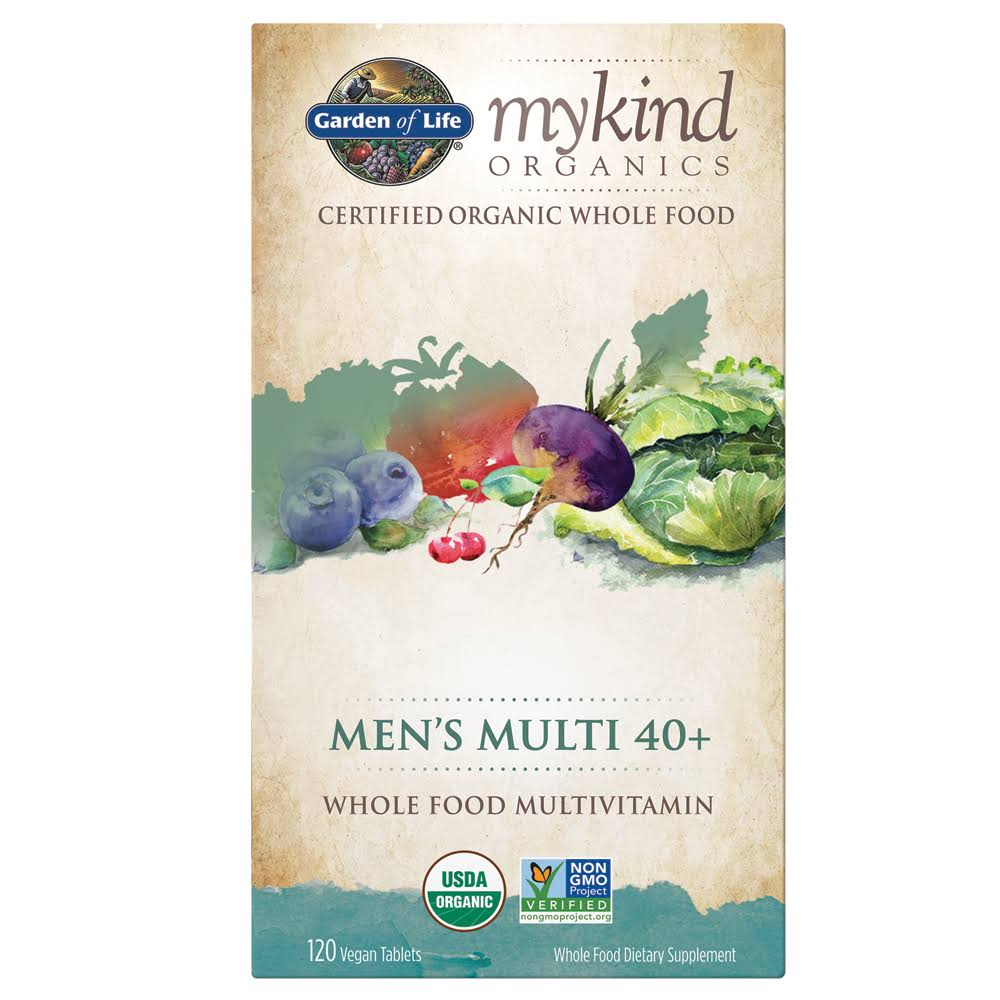 Garden of Life MyKind Organics Multivitamin, Whole Food, Men's Multi 40+, Vegan Tablets - 120 tablets
