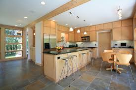 neutral colored kitchen floor tile design in running bond