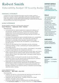 Information Analyst Resume Example It Security Examples Vulnerability Sample Vulnerabilit