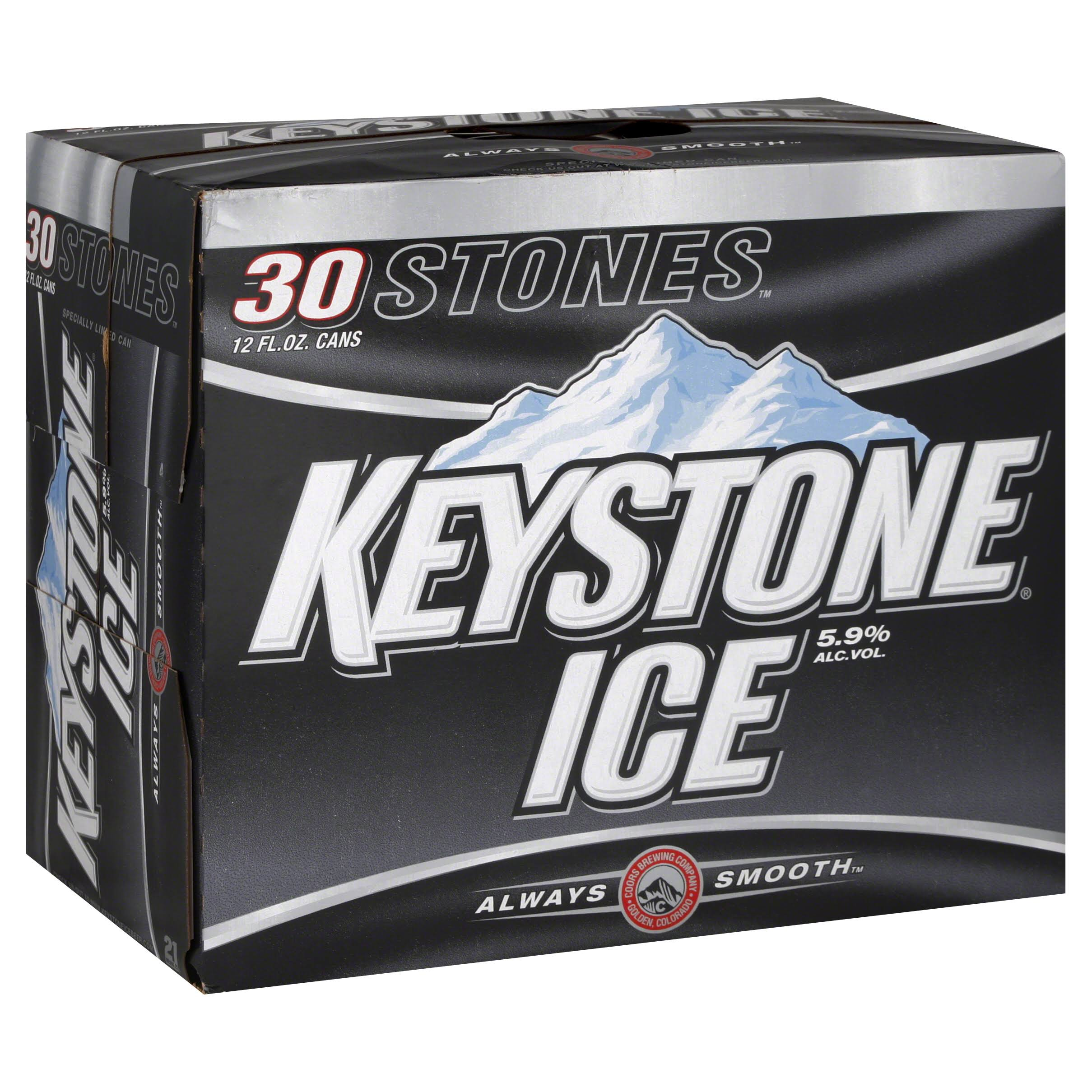 Keystone Ice Beer, 12 fl oz, 30 pack