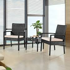 Costway 3 Pieces Rattan Wicker Furniture Set Seat Cushioned Patio Garden  Outdoor Black 3pc Black Rocker Wicker Chair Set With Steel Blue Cushion Buy Stackable 2 Seater Rattan Outdoor Patio Blackgrey Bargainpluscomau Best Choice Products 4pc Garden Fniture Sofa 4piece Chairs Table Garden Fniture Set Lissabon 61 With Protective Cover Blackbrown Temani Amazonia Atlantic 2piece Bradley Synthetic Armchair Light Grey Cushions Msoon In Trendy For Ding Fabric Tasures Folding Chairrattan Chairhigh Back Product Intertional Caravan Barcelona Square Of Six