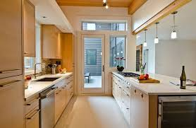 Modern French Country Galley Kitchen Design With White Bar Image