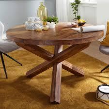 wohnling design esszimmertisch boha rund ø 120 cm x 75 cm sheesham massiv holz landhaus esstisch 4 personen küchentisch tisch für esszimmer braun