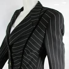 escada women black white stripes wool pants skirt evening suit
