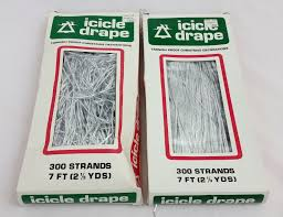 Gold Christmas Tree Tinsel Icicles by Vtg Retro Lot Of 2 Christmas Tree Icicle Drapes 300 Strands 7 Ft