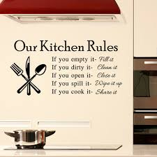 DIY Our Kitchen Rules Quotes Wall Sticker Vintage Home Decor Decal Poster Decoration Stickers
