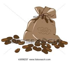 Clip Art Of Coffee Beans And Bag K5006237