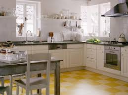yellow vinyl tile flooring in modern small kitchen design with l