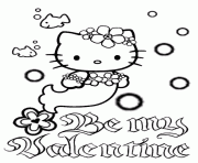 Hello Kitty Mermaid Bubbles And Flower Valentines Coloring Pages
