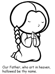 Cartoon Of Little Girl Lords Prayer Coloring Page