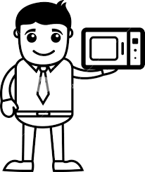 Man Presenting Microwave Oven Vector Illustration