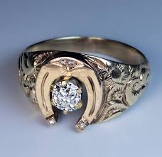 Antique Mid 1800s Horseshoe Diamond Gold Men s Ring Antique