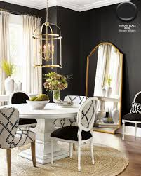 Dining Room With Walls In Sherwin Williams Tricorn Black A Jute Rug And