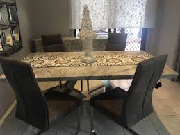 Dining Table Marble With Chairs And Buffet