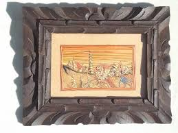 Vintage Mexican Carved Wood Frame W Colored Straw Folk Art Picture