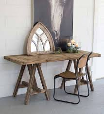 Wooden Console Table With Saw Horse Base | VivaTerra
