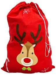 red felt santa sack with reindeer candy canes 75cm santa
