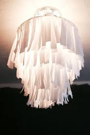 DIY Butcher Or Wax Paper Strips Chandelier Wire Hot Glue Reused Lamp