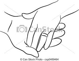 Touching hands Simple line drawing of two hands touching