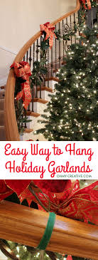 How To Hang Garland On Staircase Banisters - Oh My Creative Christmas Decorating Ideas For Porch Railings Rainforest Islands Christmas Garlands With Lights For Stairs Happy Holidays Banister Garland Staircase Idea Via The Diy Village Decorations Beautiful Using Red And Decor You Adore Mantels Vignettesa Quick Way To Add 25 Unique Garland Stairs On Pinterest Holiday Baby Nursery Inspiring The Stockings Were Hung Part Staircase 10 Best Ideas Design My Cozy Home Tour Kelly Elko