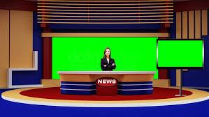 News 043 TV Studio Set Virtual Green Screen Background PSD