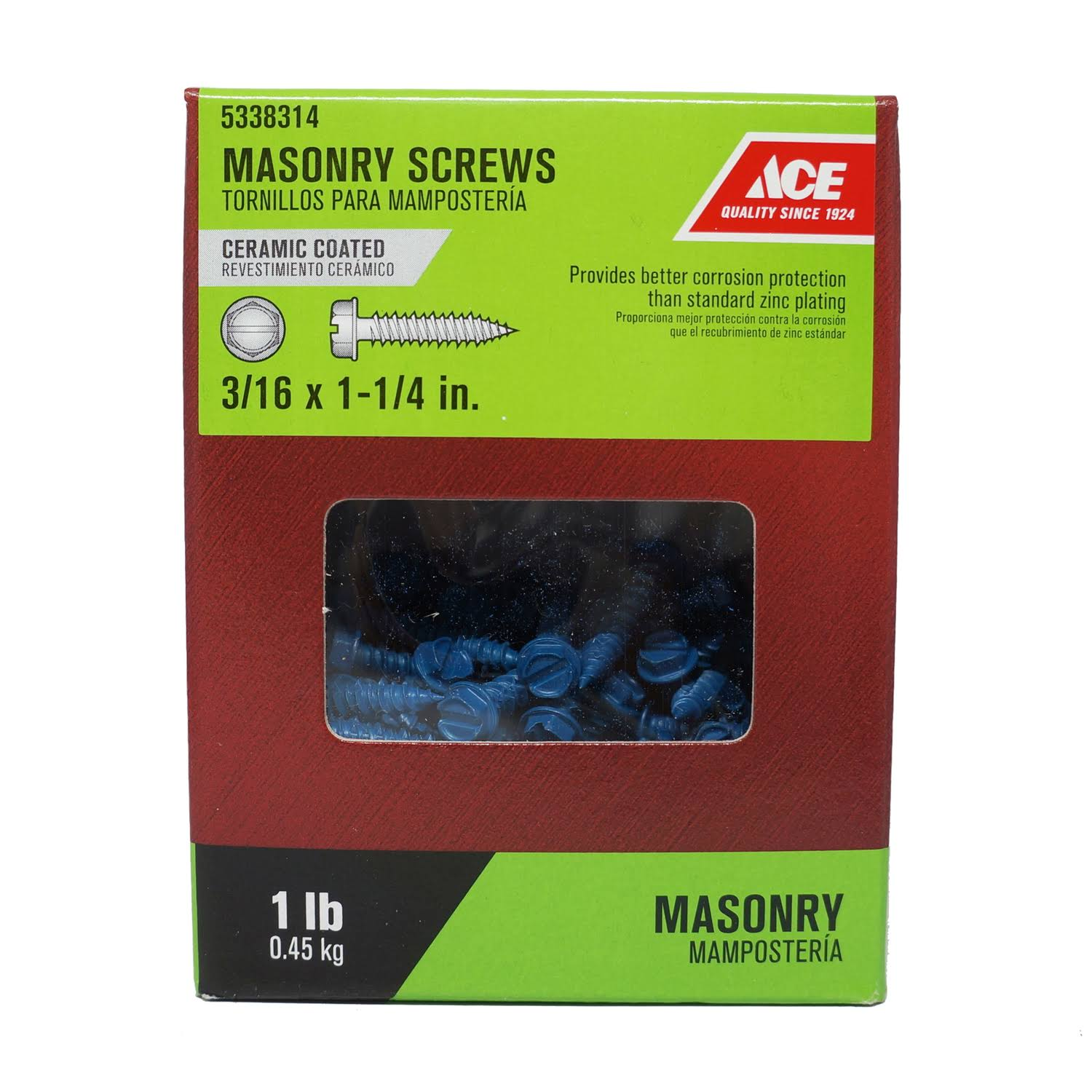 "Ace Trading Masonry Screws - Blue, 3/16"" x 1 1/4"""