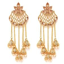 100 Pearl Design Zephyrr Tradtional Party Wear Long Earrings Jhumki Glass Kundan And Buy And Ruby EarringsFashionable Earrings