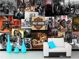 großhandel benutzerdefinierte größe 3d fototapete wohnzimmer wandbild motorrad retro poster 3d bild sofa tv hintergrund wand tapete vlies