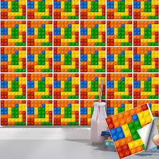 25 teile satz kinder lego fliesen aufkleber diy pvc selbst adhesive kunst wandbild aufkleber badezimmer restaurant shop zimmer dekoration home design