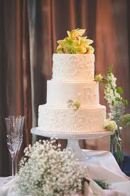 Guests Enjoyed A Three Tier Wedding Cake Decorated With Frosted Swirls Fondant Monogram