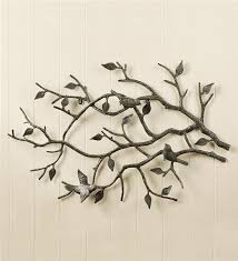 Indoor Outdoor Cast Iron Bird Branch Wall Art Metal With Prepare 1