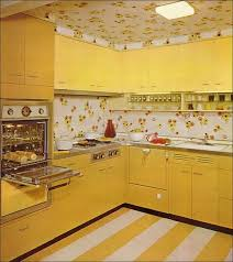 Mid Century Kitchen When Yellow Was In And Wallpaper Partied On The Ceiling Find This Pin More 60s Design