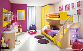 Sweet Yellow Wooden Bun Bed Decoration For Teen Girl Bedroom Ideas Combined With Round Purple Fur Rug And Wardrobe Cabinet