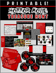 Printable Halloween Scavenger Hunt Clues by Horror Party Game Printable Horror Flick Trivia Treasure Hunt
