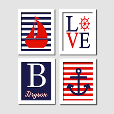 nautical wall art sailboat love captains wheel anchor monogram