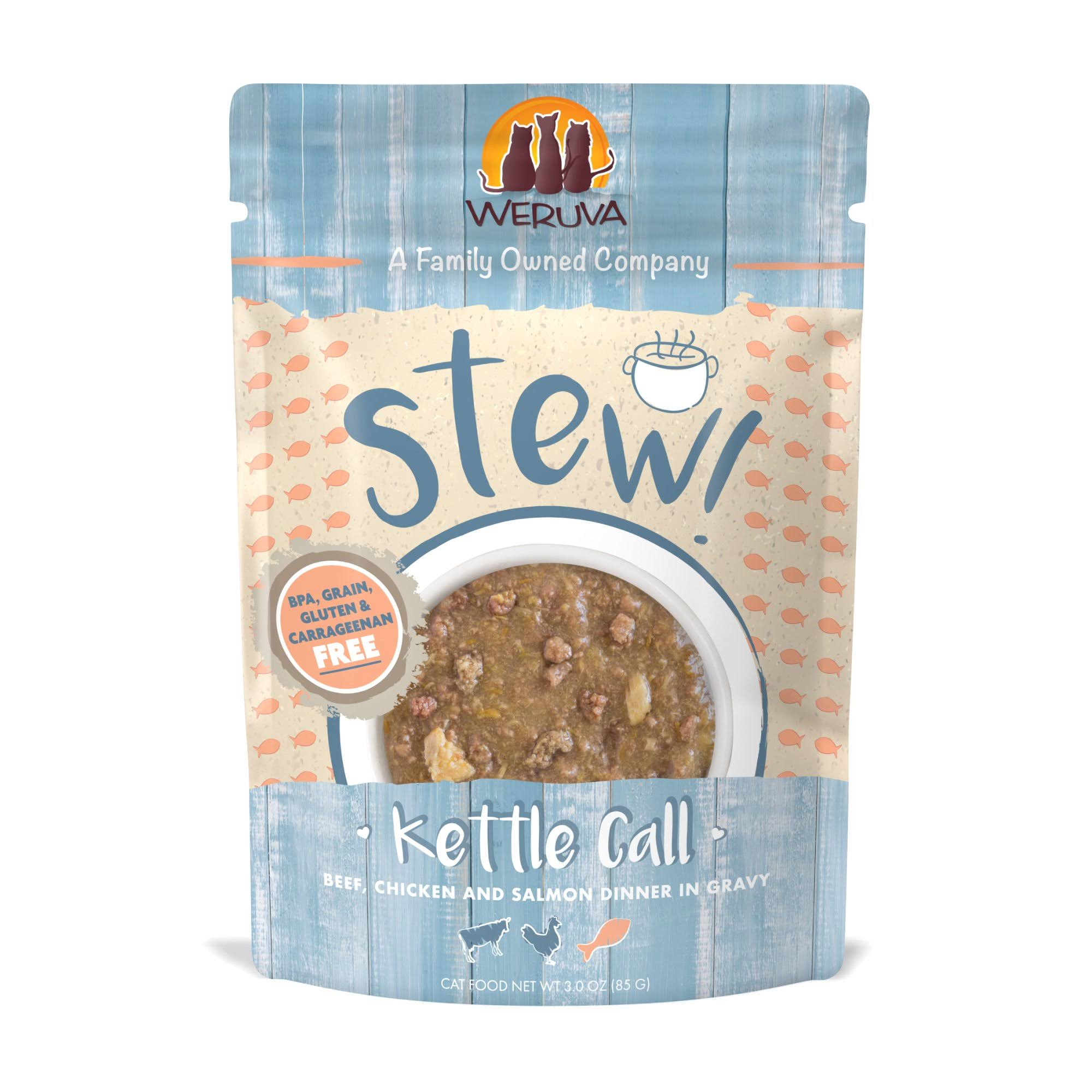 Weruva Stew! Kettle Call Beef, Chicken and Salmon Dinner in Gravy Cat Food - 3 oz